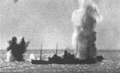 A near miss form a shell fired at Cape Gris Nez