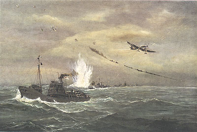 Minesweepers Under Attack by John Hamilton